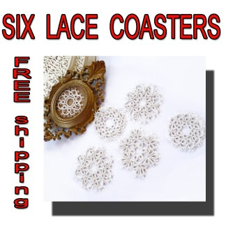 Set of six coasters lace
