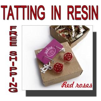 Transparent earrings Red Roses