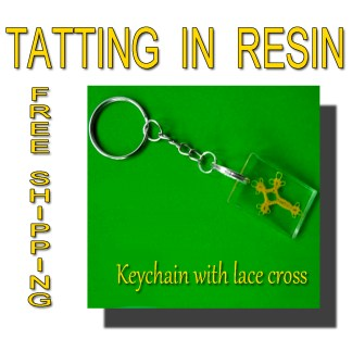 Keychain with lace cross