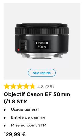 50mm f/1.8 prix