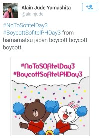 Alain Jude Yamashita of Japan tweets his support of the boycott against Sofitel.