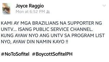 Another boycotter from Brazil, Joyce Raggio takes to Facebook her frustration of Sofitel.