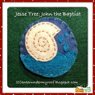Jesse Tree Ornaments: John the Baptist (baptismal shell)