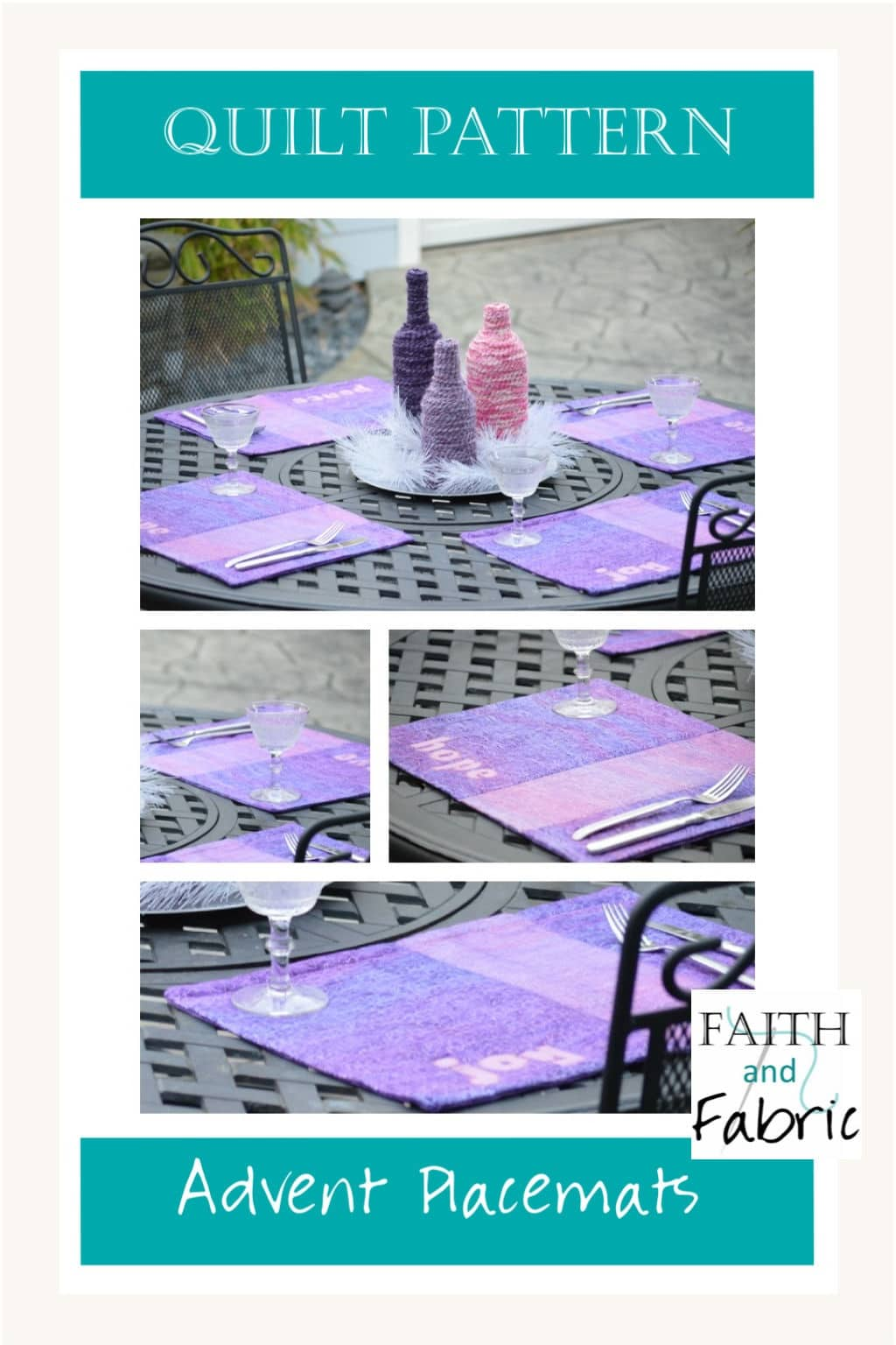 This beginner-friendly sewing project creates four beautiful mini quilt placemats for your Advent table! Beautiful decor for the season of Advent. Created by Faith and Fabric.