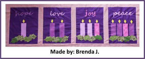 Faith and Fabric - Catholic Advent Quilt made by Brenda J