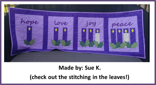 Faith and Fabric - Catholic Advent Quilt made by Sue K