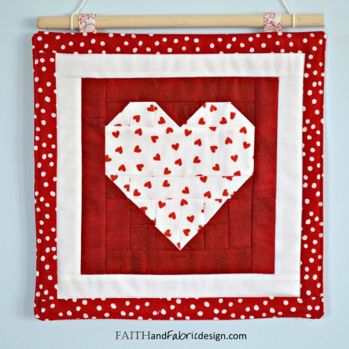 Faith and Fabric - a simple St. Valentine's Day quilt pattern that makes both a table runner and wall hanging!