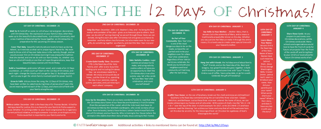 Celebrating the 12 Days of Christmas Printable Wide