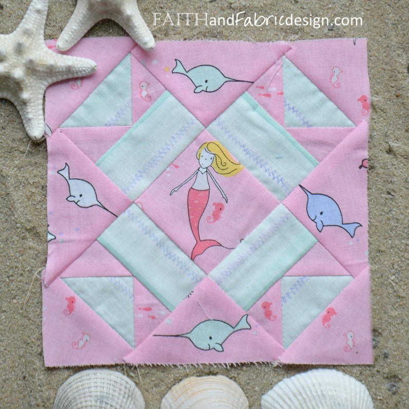 Under the Sea Quilt Block Mrs Brown by Faith and Fabric