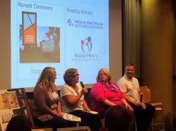 Janet Pope of Compass Housing Alliance, Rev. Paula McCutcheon of Ronald UMC, Sheryl Ice of Puyallup Church of the Nazarene's WrapUp Ministry, and Duke Paulson of Helping Hand House