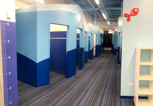 individual changing rooms at Big Blue Swim School