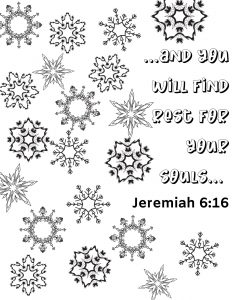 Snowflake background with Bible verse.