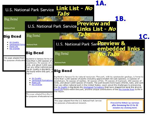 Variations of Big Bend Test Pages