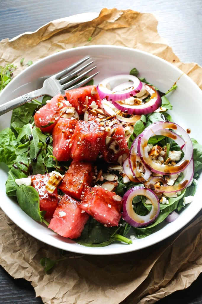 Balsamic Watermelon Feta Salad | Faith, Hope, Love, and Luck Survive Despite a Whiskered Accomplice