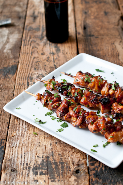 Honey Porter Glazed Chicken Skewers | Faith, Hope, Love, and Luck Survive Despite a Whiskered Accomplice
