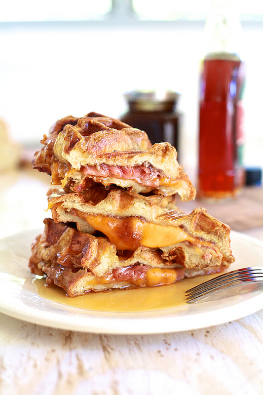 Ham and Cheese Stuffed Pumpkin Spice French Toast Waffles | Faith, Hope, Love, and Luck Survive Despite a Whiskered Accomplice