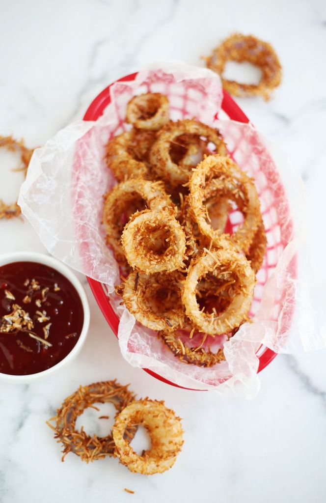 Toasted Coconut Onion Rings | Faith, Hope, Love, and Luck Survive Despite a Whiskered Accomplice