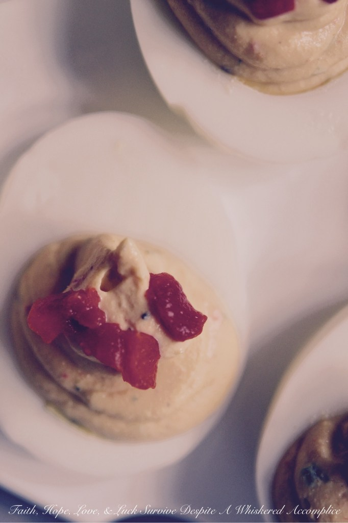 Sweet Pimento Deviled Eggs | Faith, Hope, Love, and Luck Survive Despite a Whiskered Accomplice