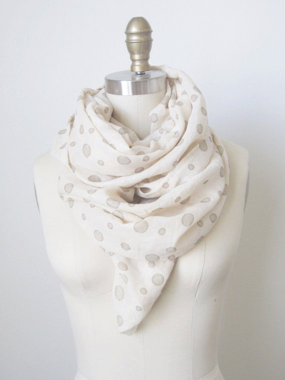Gold and Creme Sparkle Dot Infinity Scarf | Faith, Hope, Love, and Luck Survive Despite a Whiskered Accomplice