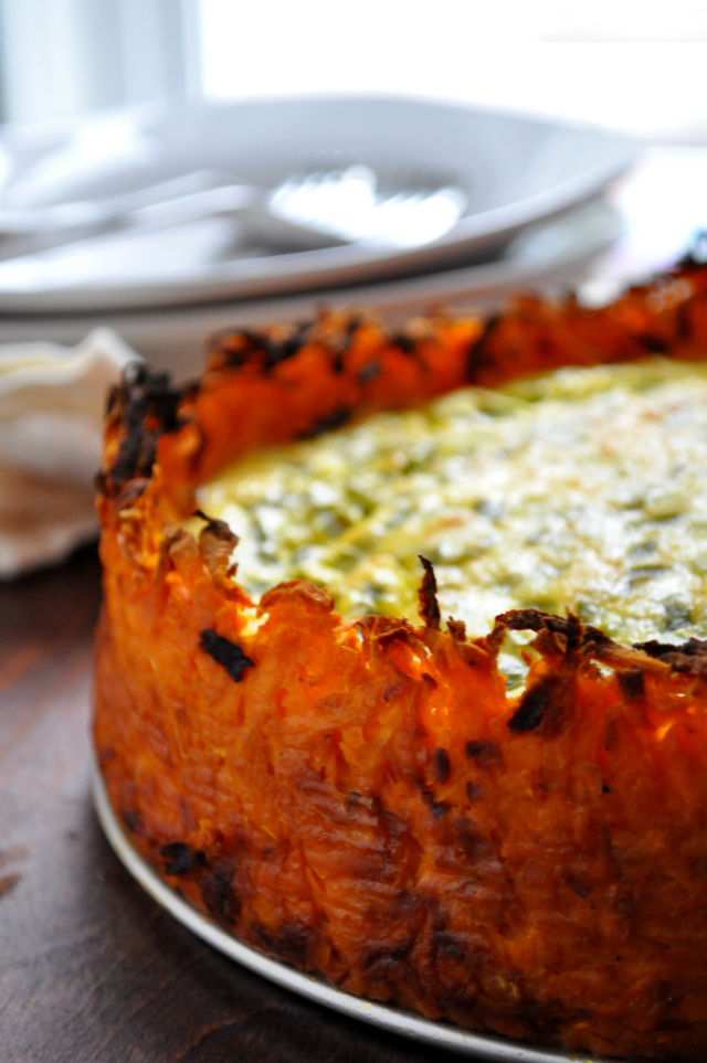 Goat Cheese Quiche with Sweet Potato Crust | Faith, Hope, Love, and Luck Survive Despite a Whiskered Accomplice