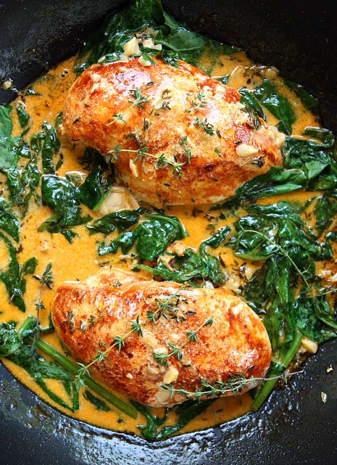 Paprika Chicken and Spinach with White Wine Butter Thyme Sauce | Faith, Hope, Love, and Luck Survive Despite a Whiskered Accomplice