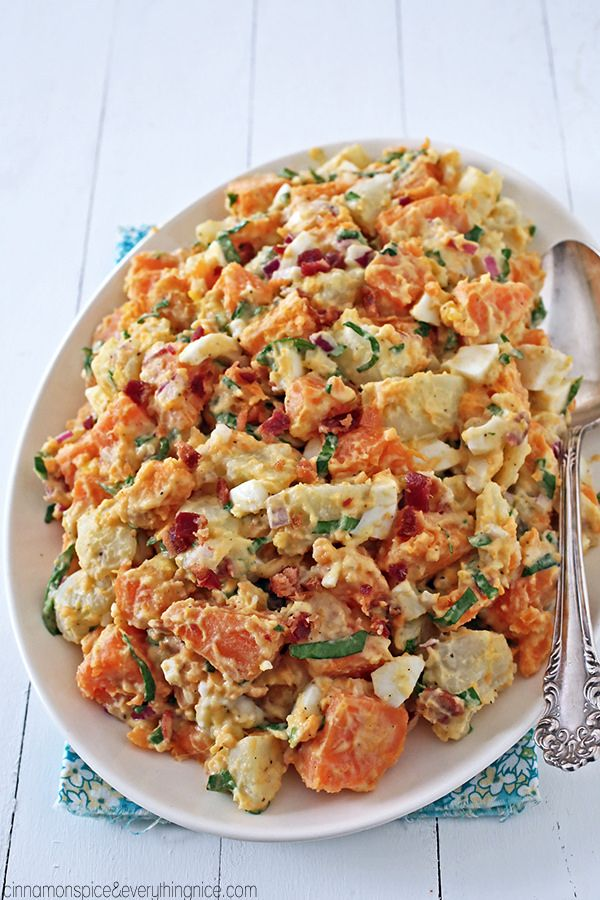 Russet and Sweet Potato Salad with Bacon | Faith, Hope, Love, and Luck Survive Despite a Whiskered Accomplice