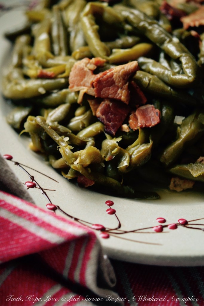 Crockpot Southern Green Beans with Bacon | Faith, Hope, Love, and Luck Survive Despite a Whiskered Accomplice
