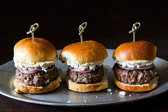 Lamb Sliders with Feta Cheese, Red Onions, and Cumin Mayonnaise | Faith, Hope, Love, and Luck Survive Despite a Whiskered Accomplice