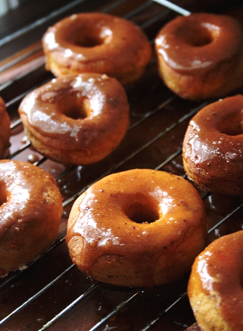 Baked Sweet Potato Doughnuts with Caramel-Cinnamon Glaze | Faith, Hope, Love, and Luck Survive Despite a Whiskered Accomplice