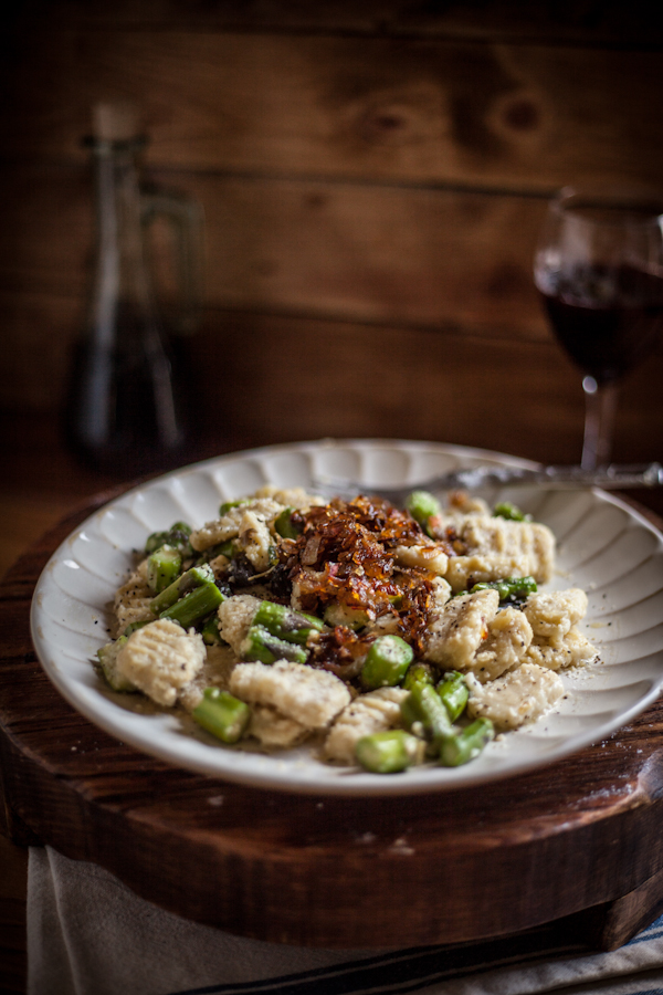 Toasted Sage Gnocchi with Sauteed Asparagus and Caramelized Shallots | Faith, Hope, Love, and Luck Survive Despite a Whiskered Accomplice