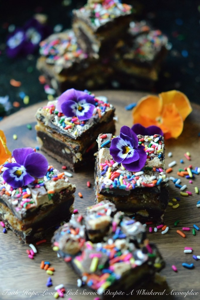 Reese's Birthday Sprinkle Brownie Cheesecake Bars | Faith, Hope, Love, and Luck Survive Despite a Whiskered Accomplice