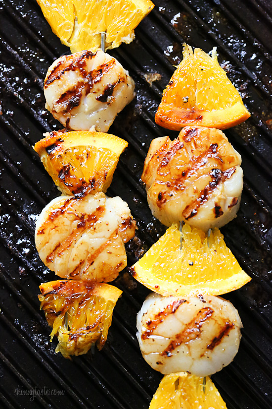 Grilled Scallop and Orange Kebabs with Honey-Ginger Glaze | Faith, Hope, Love, and Luck Survive Despite a Whiskered Accomplice