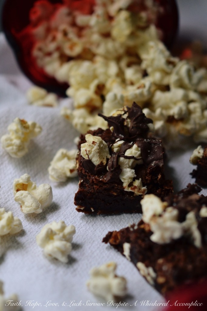 Boom Chicka Popcorn Brownies | Faith, Hope, Love, and Luck Survive Despite a Whiskered Accomplice