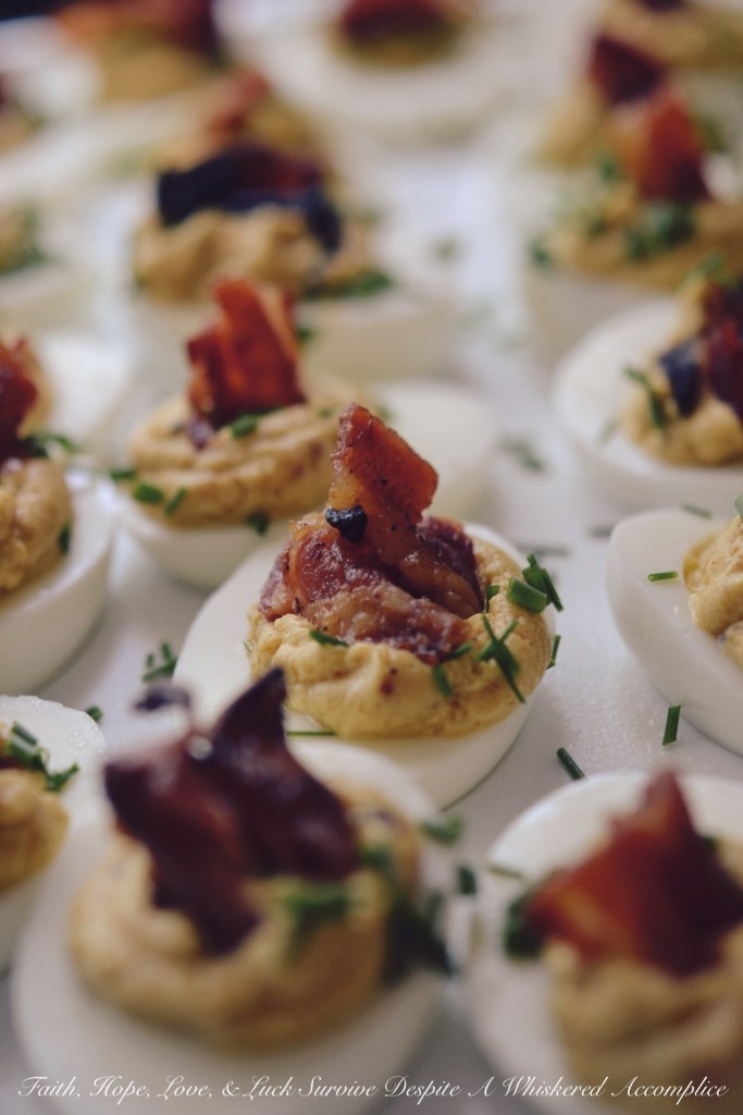 Bourbon Candied Bacon Deviled Eggs | Faith, Hope, Love, and Luck Survive Despite a Whiskered Accomplice