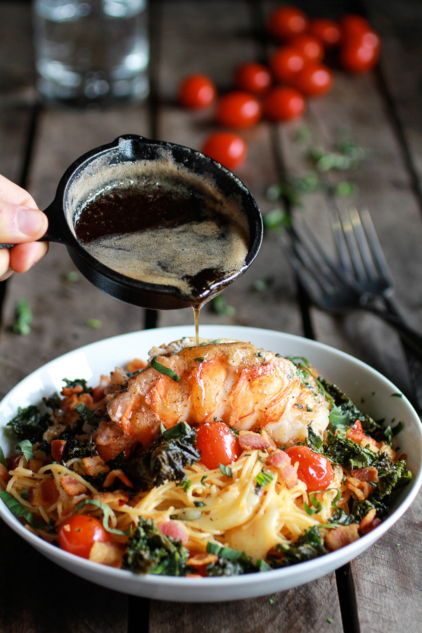 Brown Butter Lobster, Bacon Plus Crispy Kale and Fontina Pasta  | Faith, Hope, Love, and Luck Survive Despite a Whiskered Accomplice