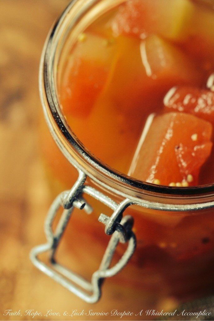 Sweet and Tangy Watermelon Rind Pickles | Faith, Hope, Love, and Luck Survive Despite a Whiskered Accomplice
