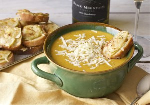 Butternut Squash and Apple Soup with Apple-Gruyere Crostini | Faith, Hope, Love, and Luck Survive Despite a Whiskered Accomplice