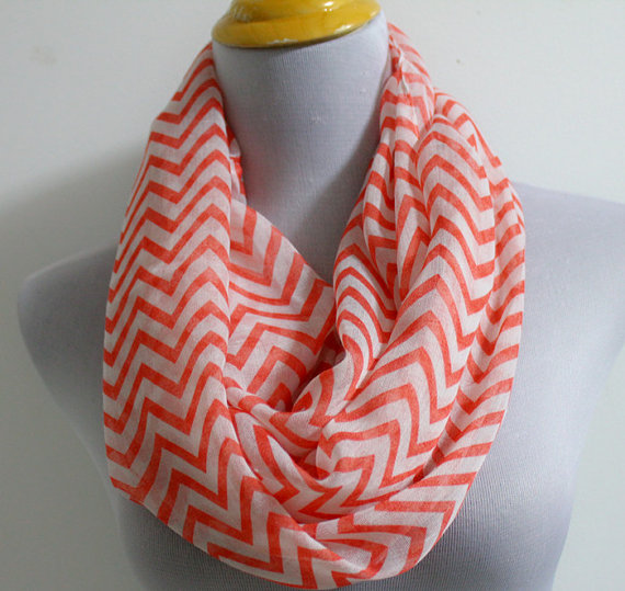 Coral Chevron Infinity Scarf | Faith, Hope, Love, and Luck Survive Despite a Whiskered Accomplice