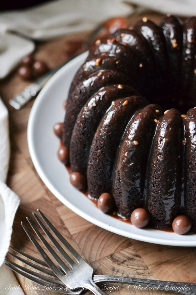 Junk Food Bundt Cake - #BundtBakers | Faith, Hope, Love, and Luck Survive Despite a Whiskered Accomplice