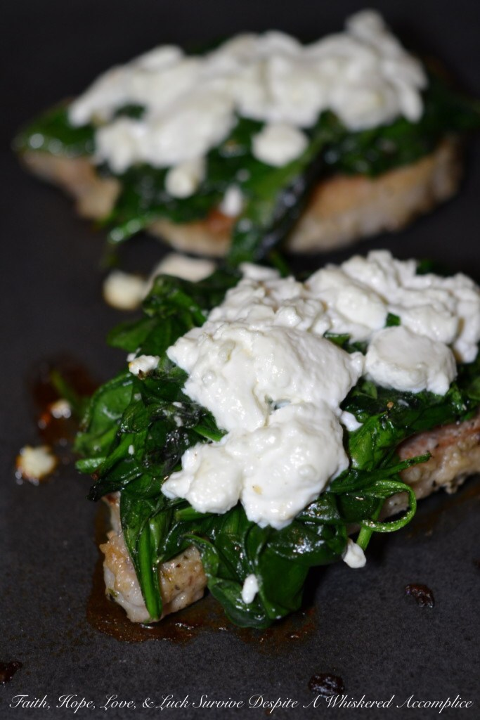 Goat Cheese and Spinach Topped Pork Chops | Faith, Hope, Love, and Luck Survive Despite a Whiskered Accomplice
