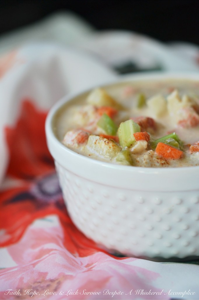 Cajun Langostino Chowder - #FishFridayFoodies | Faith, Hope, Love, and Luck Survive Despite a Whiskered Accomplice
