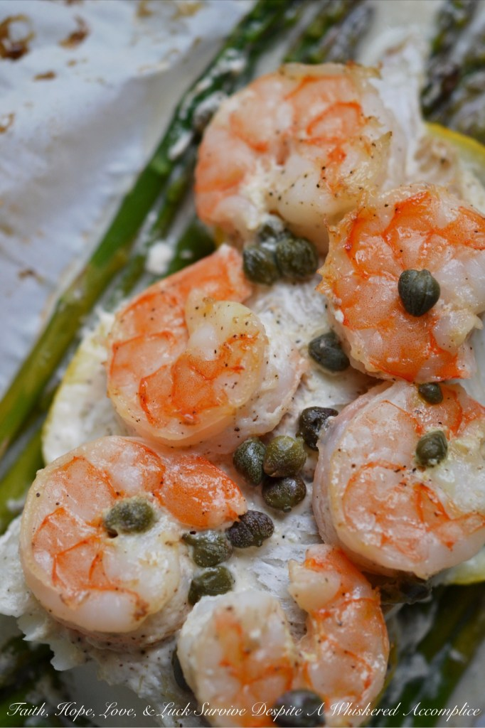 Lemony Mayonnaise Cod, Shrimp, and Asparagus Parchment Paper Wrapped Bundles | Faith, Hope, Love, and Luck Survive Despite a Whiskered Accomplice