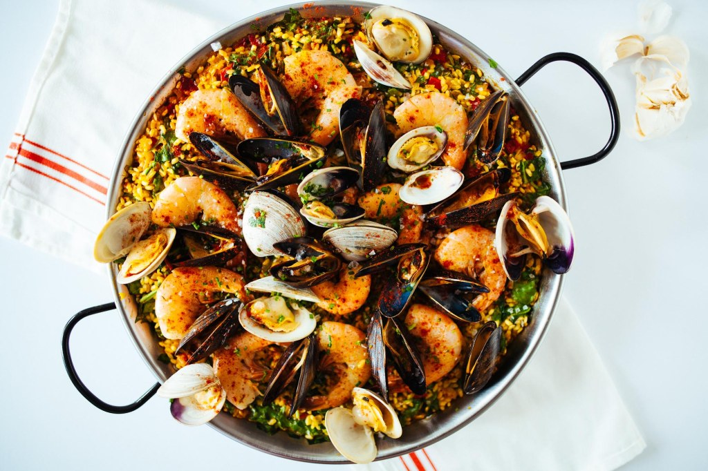 Seafood and Spinach Paella | Faith, Hope, Love, and Luck Survive Despite a Whiskered Accomplice