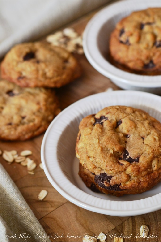 Brown Butter Oatmeal Chocolate Chunk Cookies   Faith, Hope, Love, and Luck Survive Despite a Whiskered Accomplice