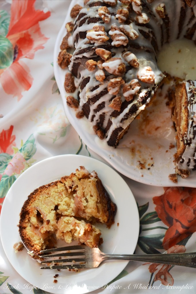 Jewish Praline Pecan Apple Cake | Faith, Hope, Love, and Luck Survive Despite a Whiskered Accomplice