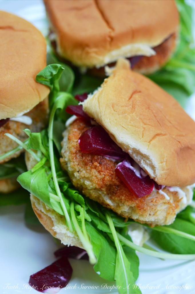 Seafood Sliders with Pickled Beets & Baby Arugula | Faith, Hope, Love, and Luck Survive Despite a Whiskered Accomplice
