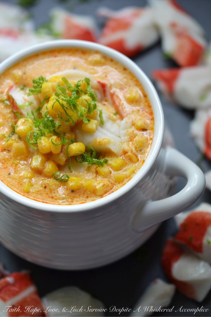 Cajun Lime Corn Chowder with Crab | Faith, Hope, Love, and Luck Survive Despite a Whiskered Accomplice