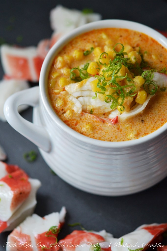 Cajun Lime Corn Chowder with Crab   Faith, Hope, Love, and Luck Survive Despite a Whiskered Accomplice
