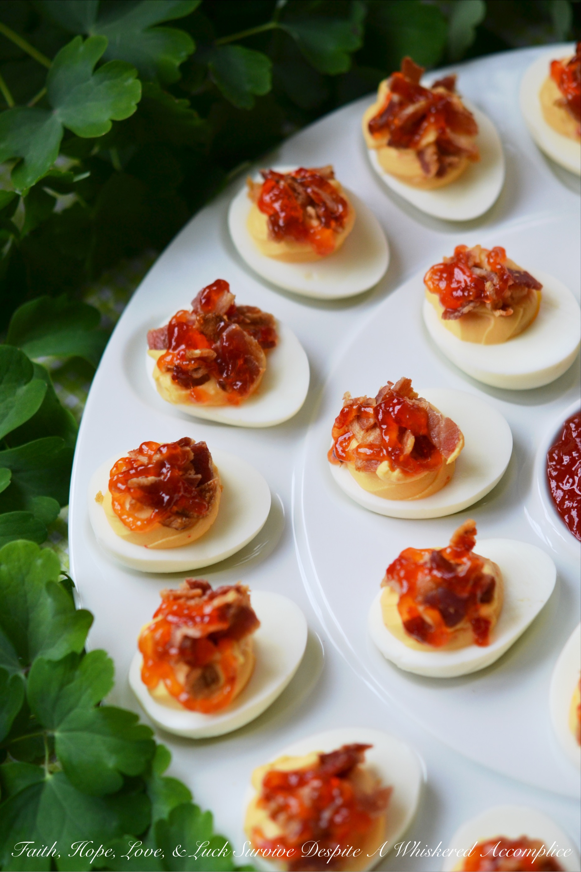 Southern Red Pepper Jelly Deviled Eggs