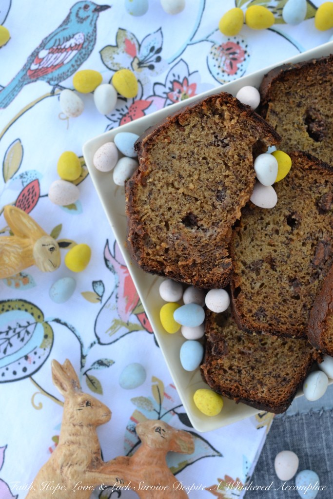 An Easter inspired banana bread that will make every-bunny happy with its delightful taste and abundance of chopped Cadbury Mini Eggs.